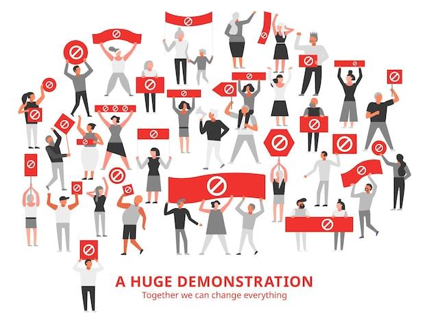 Multidão de pessoas protestando com placas de proibição em cartazes vermelhos durante uma grande demonstração de ilustração em branco