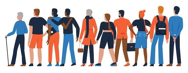 Multidão de pessoas se juntam grupo diverso de homem adulto mulher em pé na fila