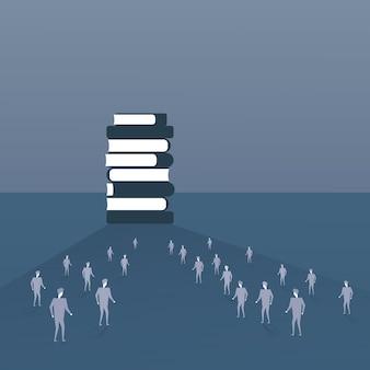 Multidão de pessoas silhueta caminhando para a pilha de livros