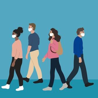 Multidão de pessoas usando máscaras faciais