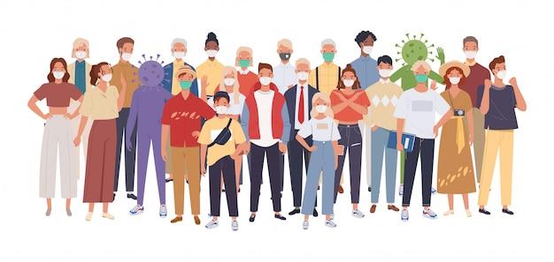 Multidão de pessoas usando máscaras médicas se protegendo do vírus. epidemia de coronavírus. ilustração em um estilo simples