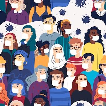 Multidão de pessoas usando máscaras médicas se protegendo do vírus. padrão sem emenda. conceito de coronavírus