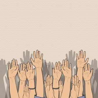 Multidão de pop art levantou as mãos