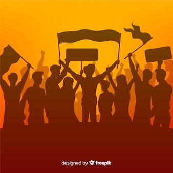 Multidão de silhueta de pessoas com bandeiras e banners em uma manifestação