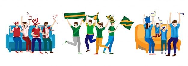 Multidão fanática de futebol, tendo a festividade do esporte na mão desenhada isolado no branco.