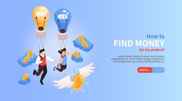 Multidão financiando isométrica para encontrar dinheiro para ilustração de projetos