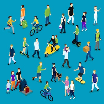 Multidão social isométrica