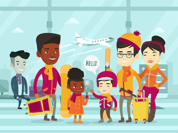 Multiétnicas turistas em pé no aeroporto no inverno
