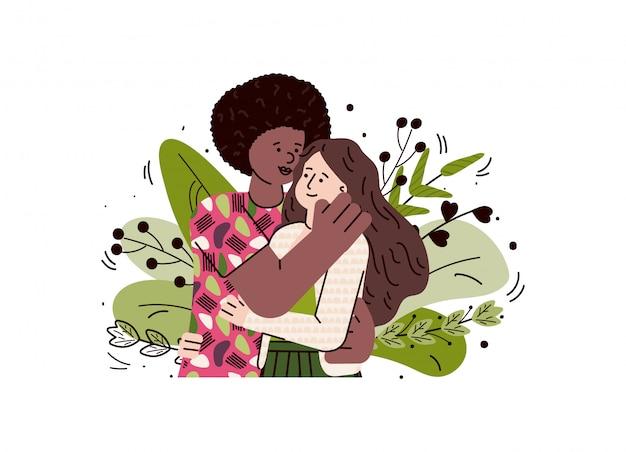 Multiétnico casal apaixonado, abraçando, desenho ilustração de desenho