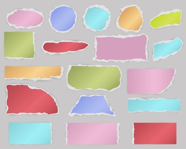 Multiforme pedaços de papel em branco rasgado com sombra e cores diferentes.