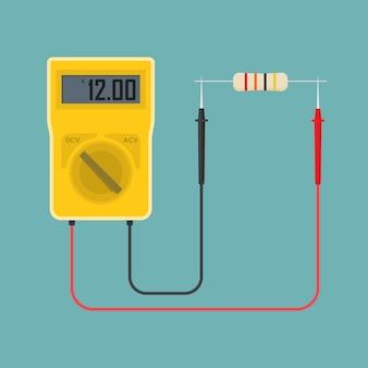 Multímetro digital com resistor.