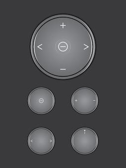 Multimídia de ícone de botão preto em fundo de cor escura