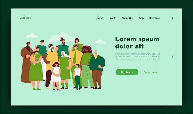 Multinacional de pessoas juntas ilustração plana