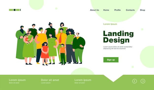 Multinacional de pessoas juntas na página de destino em estilo simples