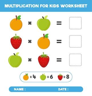 Multiplicação com diferentes frutas, jogo de multiplicação matemática para planilha infantil