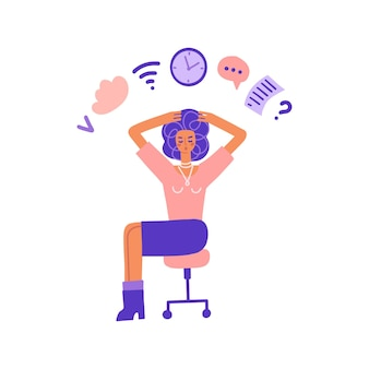 Multitarefa e mulher de negócios de conceito de gerenciamento de tempo fazendo várias tarefas ao mesmo tempo. mulher ocupada espera ...