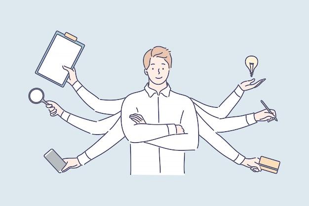 Multitarefa, eficiência nos negócios, sobrecarga, conceito de competência profissional.