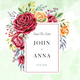 Multiuso rosa flor moldura convite de casamento em aquarela