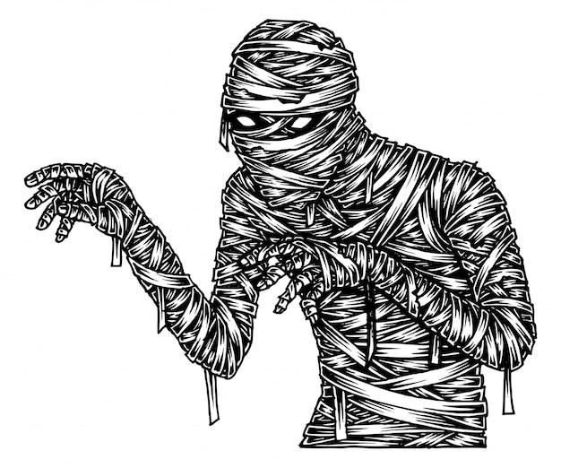 Múmia assustadora, mão desenhada ilustração vector