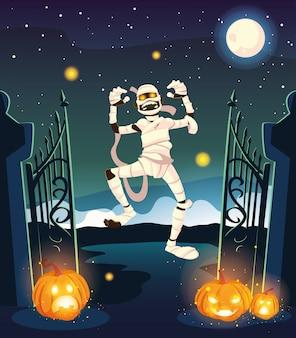 Múmia assustadora na cena de halloween