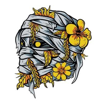 Múmia com mão desenhada flor na cabeça ilustração vetorial
