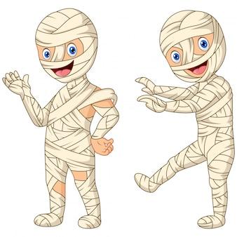 Múmia de desenhos animados menino no halloween