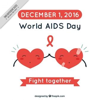Mundial da sida fundo dia com corações junto