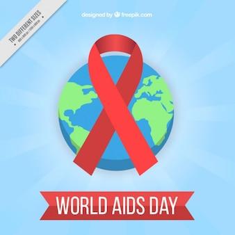 Mundial da sida fundo do dia com uma fita vermelha e no mundo