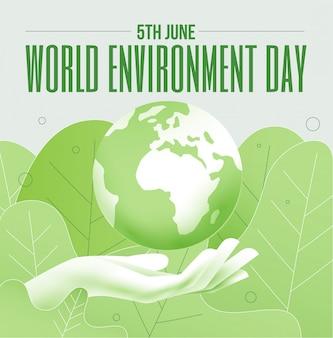 Mundo ambiente dia 5 de junho banner ou cartaz conceito com globo do planeta terra e mão humana em cores verdes. ilustração