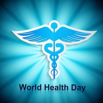 Mundo azul do cartão do dia da saúde