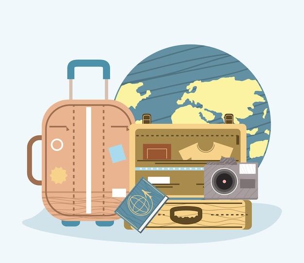 Mundo com ícones de turismo