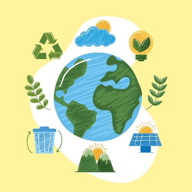 Mundo com ícones sustentáveis