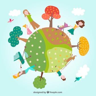 Mundo com mães e crianças