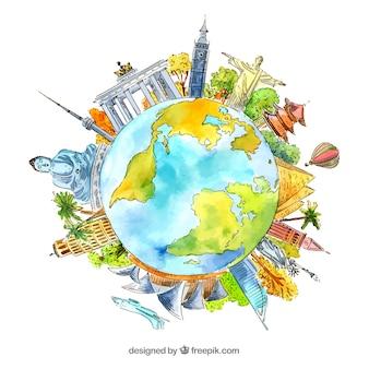 Mundo com marcos históricos em estilo aquarela