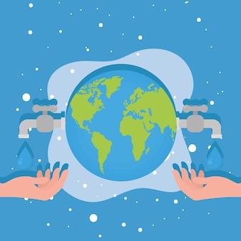 Mundo com torneiras de água e mãos