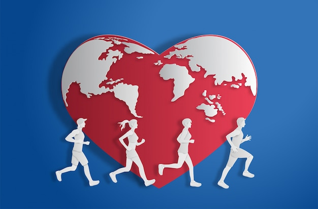 Mundo de forma de coração com pessoas correndo.