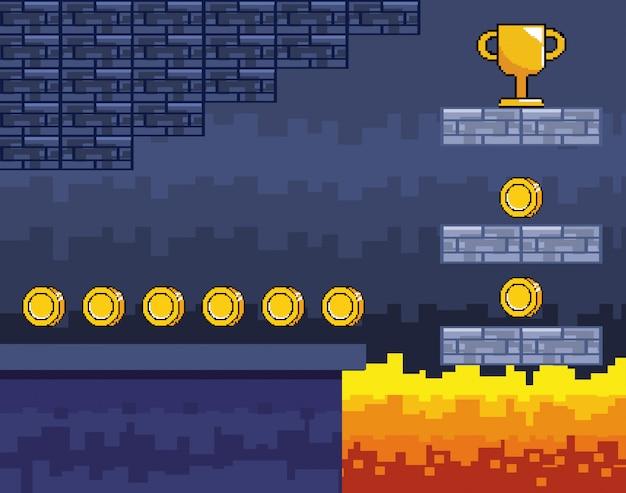 Mundo de jogo de arcade e cena de pixel