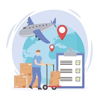 Mundo de transporte logístico Vetor Premium