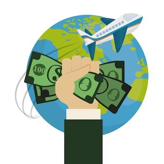Mundo de viagens ao redor da mão segure o avião de dinheiro