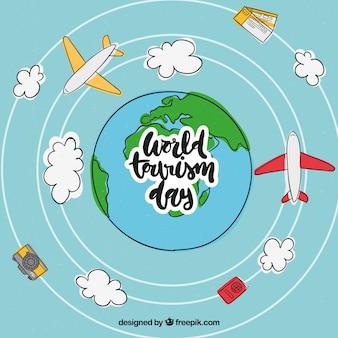 Mundo desenhado mão e aviões