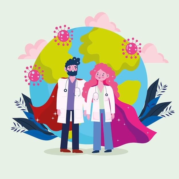 Mundo do herói dos médicos