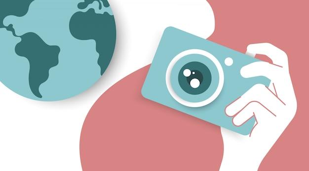 Mundo fotografia dia ilustração vector em papel cortado estilo