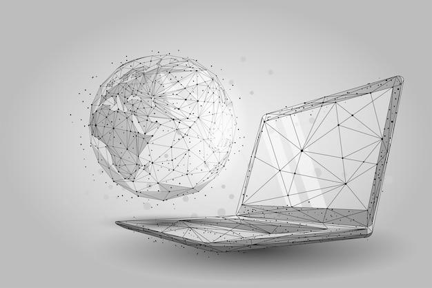 Mundo global de estrutura de arame de baixo poli. planeta terra na tela do laptop