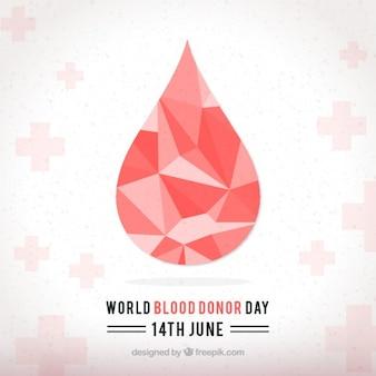 Mundo gota geométrica doador de sangue fundo do dia
