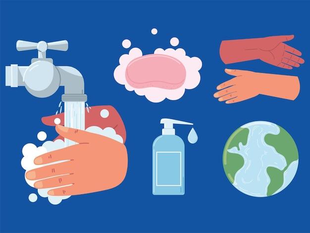Mundo lavando as mãos
