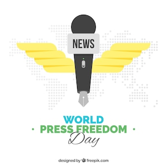 Mundo, liberdade, dia, fundo, microfone, caneta