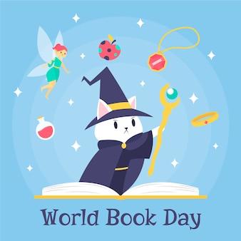 Mundo livro dia assistente gatinho e contos de fadas