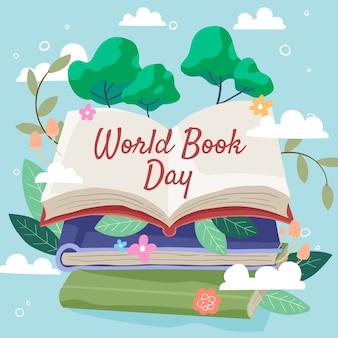 Mundo livro dia mão desenhada