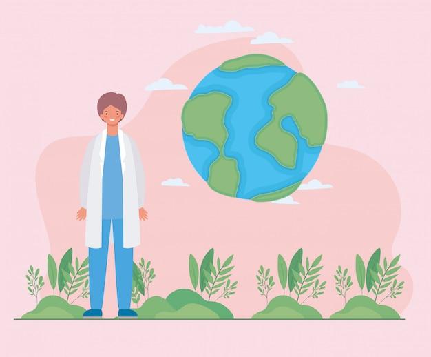 Mundo masculino médico e folhas