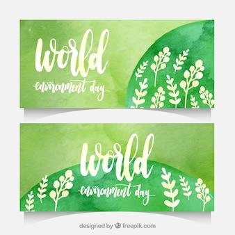 Mundo, meio ambiente, dia, banners, pintado, watercolor